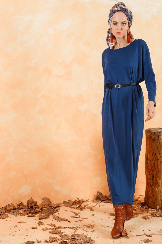 8e24ef60c8f0e Muni Muni İndigo Deri Kemerli Doğal Kumaş Rahat Elbise   ElbiseBul