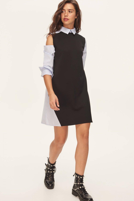 f49fa2fc6a0fa Trendyolmilla Siyah Dokuma Detaylı Örme Mini Elbise | ElbiseBul