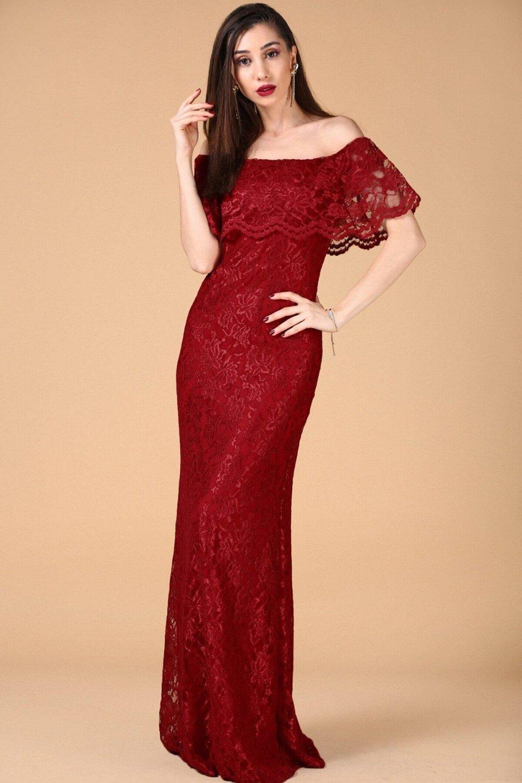 27cccc77d6800 Nesrinden Straplez Kayık Yaka Kırmızı Uzun Abiye Elbise   ElbiseBul