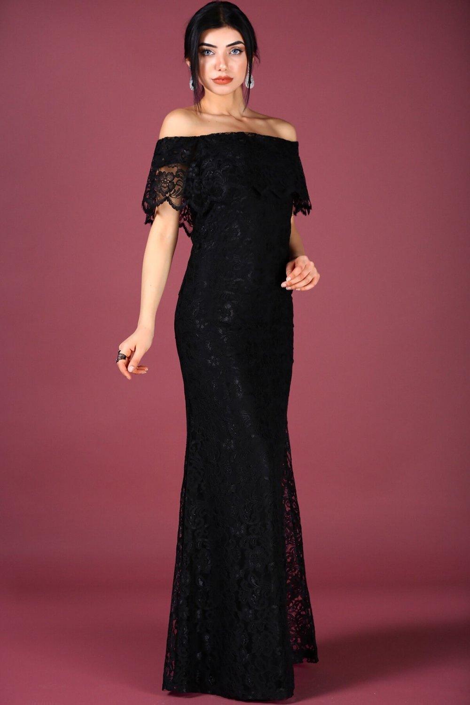 2f9f83fc70854 Nesrinden Straplez Kayık Yaka Siyah Uzun Dantel Abiye Elbise | ElbiseBul