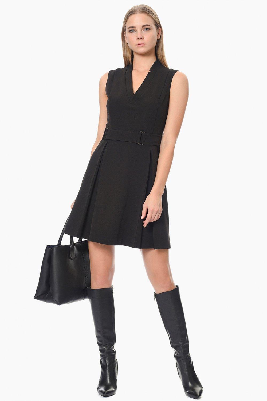 7cffd7e122375 Network Siyah V Yaka Kolsuz Mini Elbise | ElbiseBul