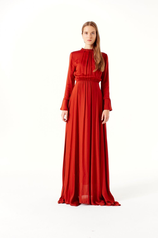 39b5818dcf662 Mizalle Kiremit Pile Yaka Detaylı Uzun Abiye Elbise   ElbiseBul