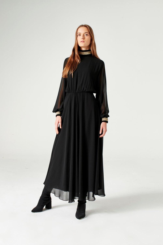 ae5b6eb23ba09 Mizalle Siyah Balıkçı Yaka Şifon Uzun Abiye Elbise   ElbiseBul