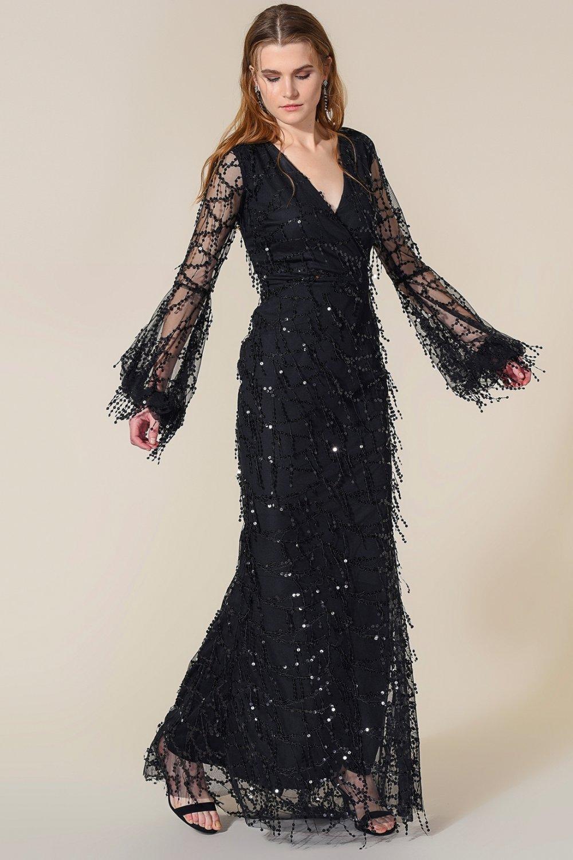 69ff53298b2 Agenda Siyah Sallantı Payetli Uzun Abiye Elbise | ElbiseBul
