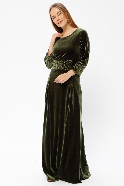 bde3a5993fcd4 Le Mirage Yağ Yeşili Kadife Abiye Elbise | ElbiseBul