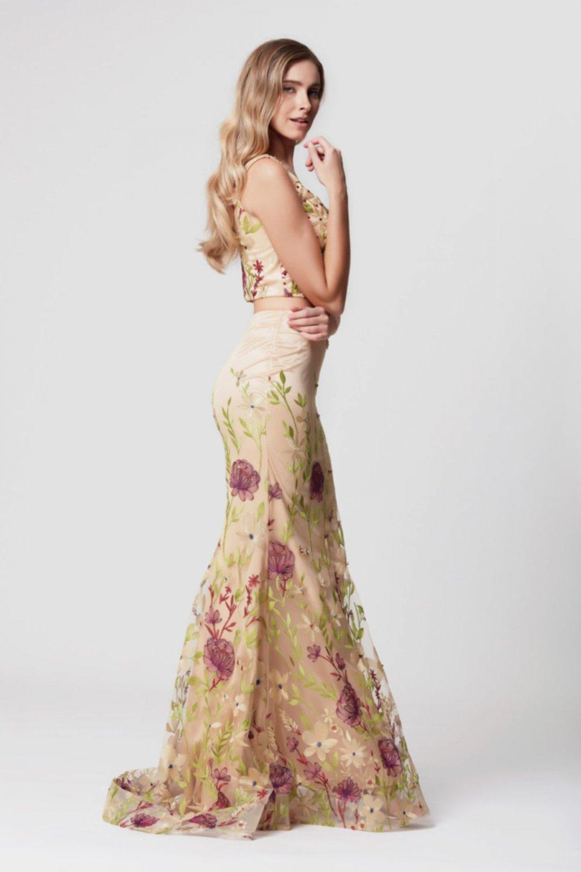 fbd50898980a7 Abiye Sarayı Mor Mürdüm İki Parça Çiçek İşlemeli Uzun Abiye Elbise ...
