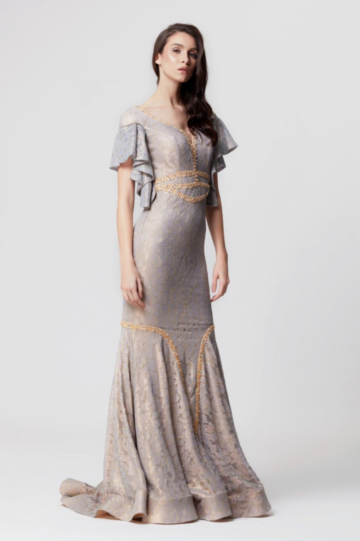 5ff54c25c37d2 Abiye Sarayı Gümüş Silver İşlemeli Uzun Abiye Elbise | ElbiseBul