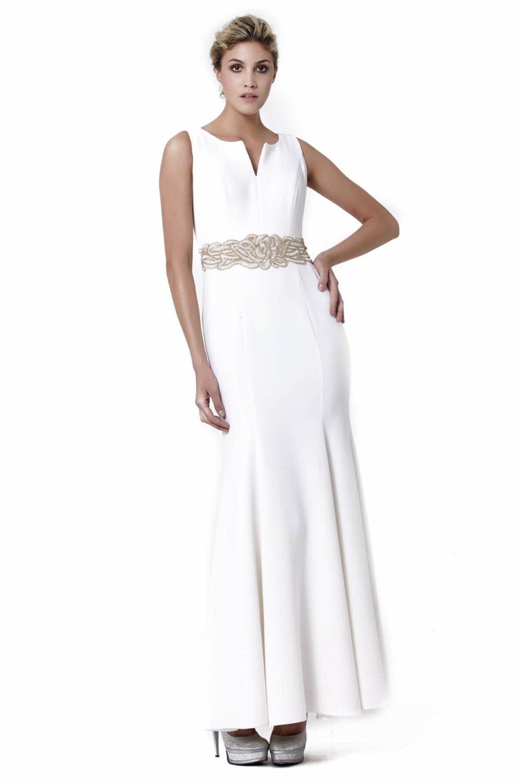 1d0aea7c92233 Abiye Sarayı Beyaz Beli Çiçek Detaylı Uzun Abiye Elbise | ElbiseBul