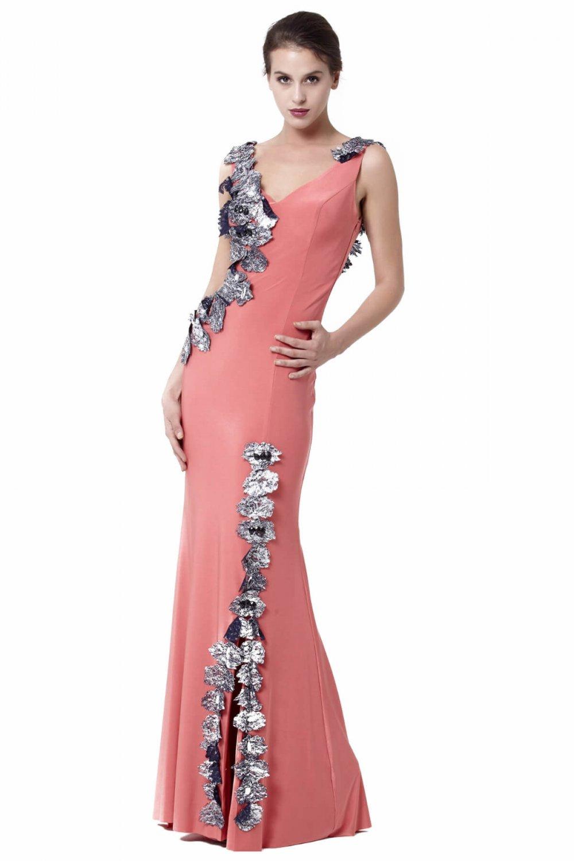 0cfe671a3aed7 Abiye Sarayı Kırmızı Omuz Ve Yırtmaç Çiçek Detaylı Uzun Abiye Elbise ...