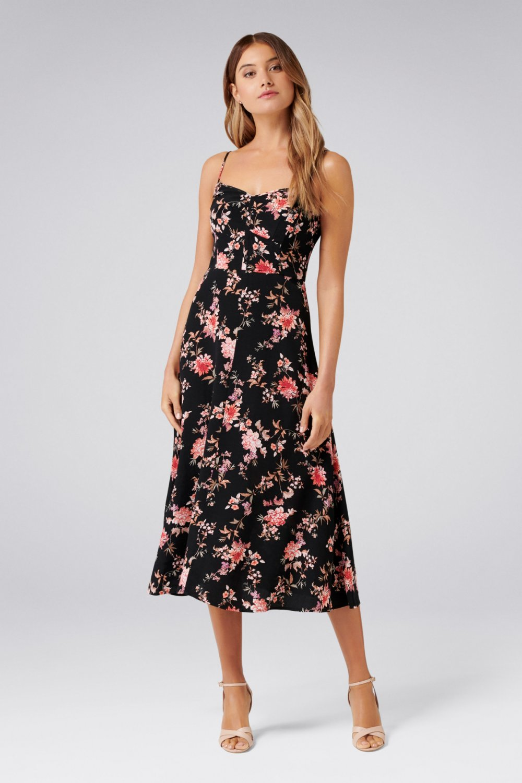 545d56217a37a Forever New Çok Renkli Abigail Askılı Çiçekli Uzun Elbise | ElbiseBul