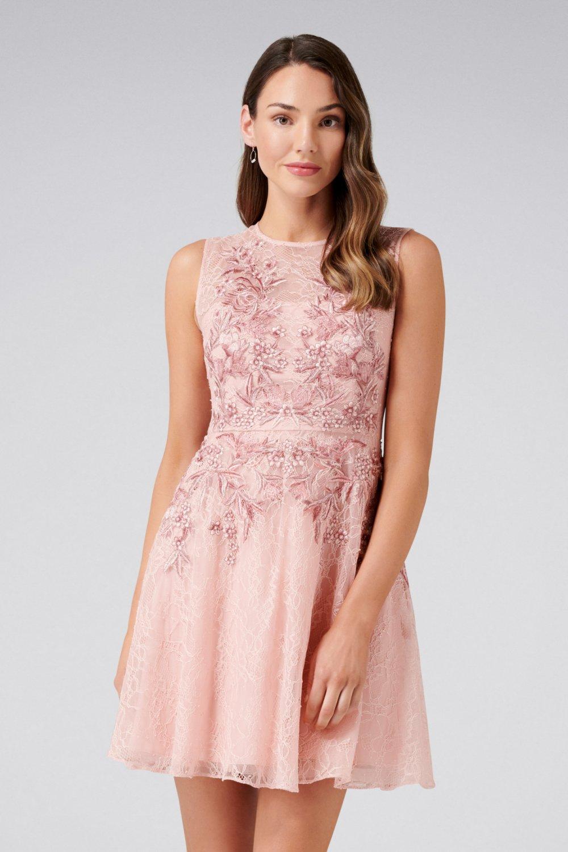 ef470355b791c Forever New Nikita Pembe İşlemeli Dantel Mini Abiye Elbise | ElbiseBul