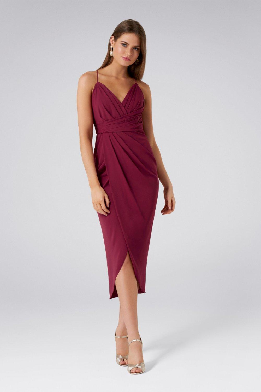 870d378679926 Forever New Askılı Bordo Charlotte Drapeli Uzun Abiye Elbise | ElbiseBul