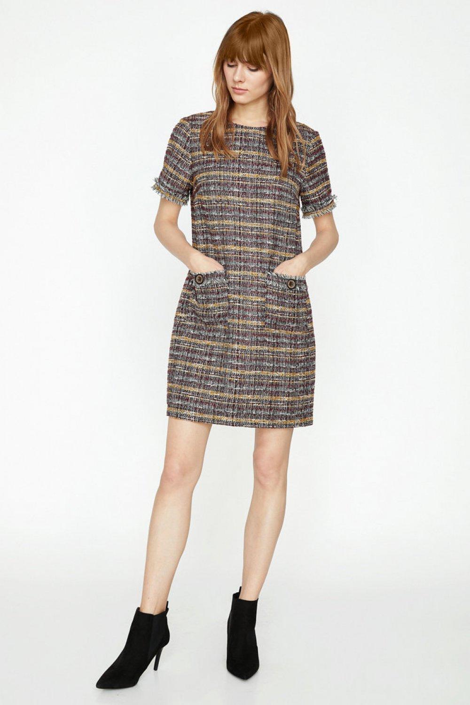 7e0f89b5f2b06 Koton Desenli Hardal Mini Elbise | ElbiseBul