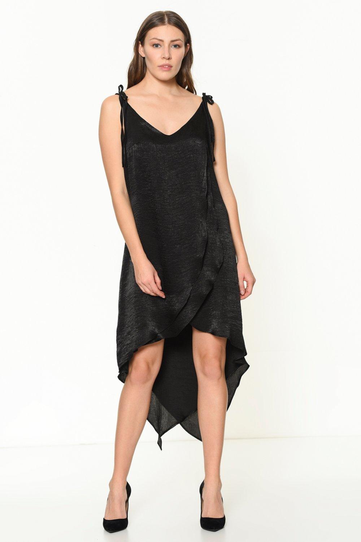 50a8fb678860d İroni Askılı Siyah Katlı Volanlı Saten Mini Asimetrik Abiye Elbise ...
