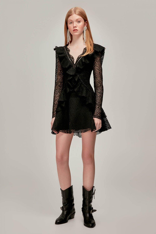 c230272cf8c7c Tuvanam For Trendyol Siyah Volanlı Dantel Mini Abiye Elbise   ElbiseBul