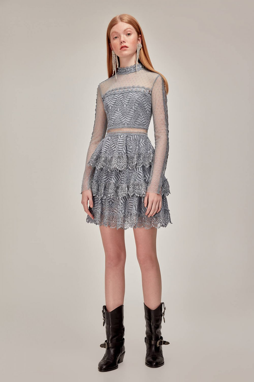 1b49bd549aa89 Tuvanam For Trendyol Mavi Dantel Mini Abiye Elbise   ElbiseBul