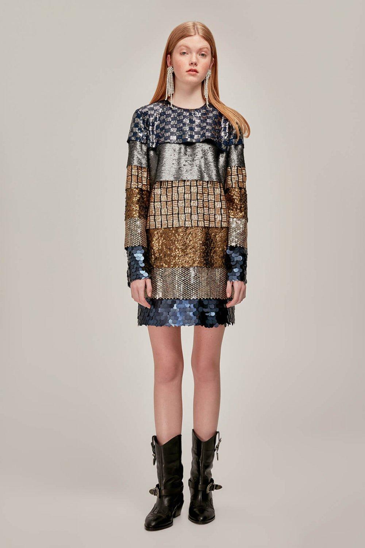 4748ecc6edb09 Tuvanam For Trendyol Çok Renkli Payetli Mini Abiye Elbise   ElbiseBul