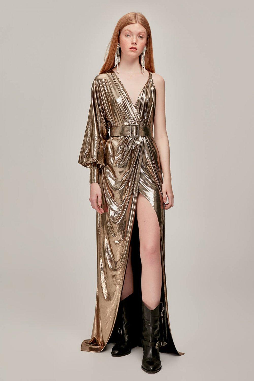 ff830c6ed235a Tuvanam For Trendyol Altın Kruvaze Uzun Abiye Elbise