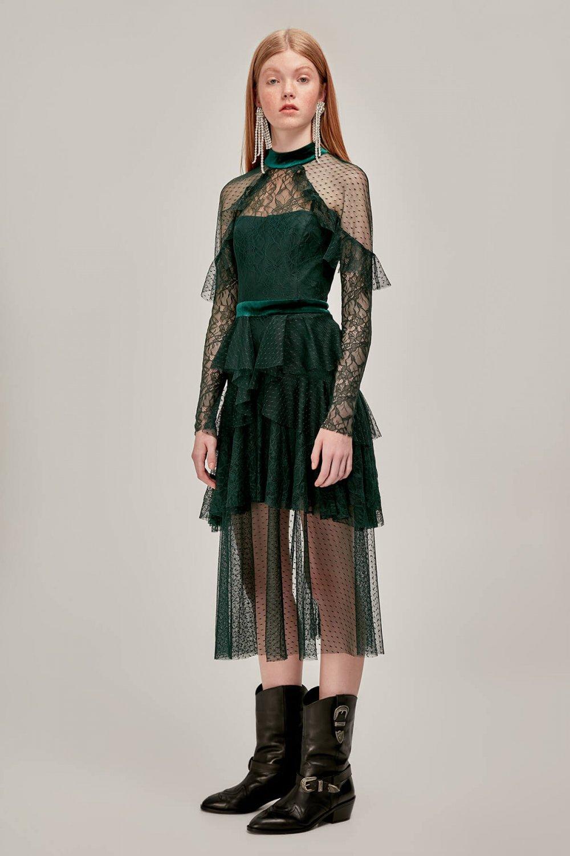 451c19d955bfa Tuvanam For Trendyol Yeşil Puantiye Tül Detaylı Mini Abiye Elbise ...