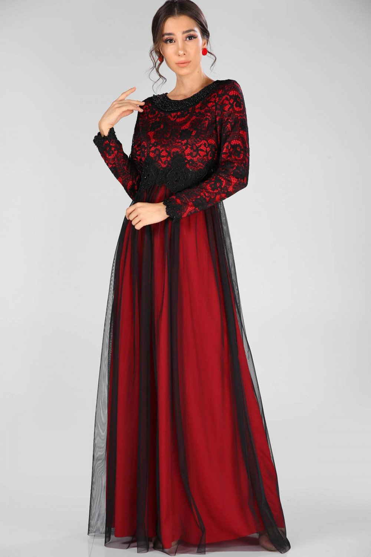 12436e6b6c066 Nesrinden Yaka Boncuk İşlemeli Siyah Kırmızı Uzun Abiye Elbise ...
