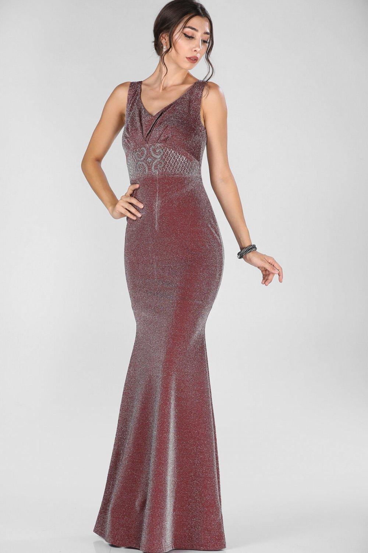 a853c2b02a9d9 Nesrinden Taş İşlemeli Simli Bordo Uzun Abiye Elbise | ElbiseBul