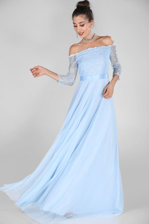 7c06df20d369b Nesrinden Kayık Yaka Mavi Uzun Abiye Elbise | ElbiseBul