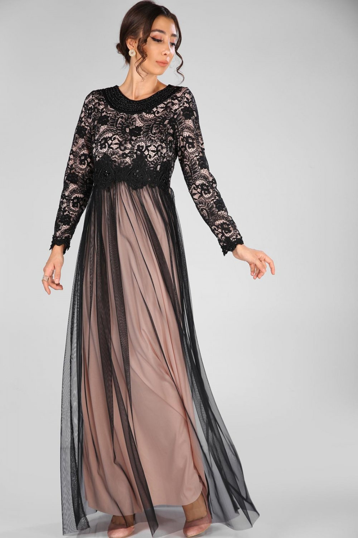 f4a32c5580b5c Nesrinden Yaka Boncuk İşlemeli Siyah Pudra Uzun Abiye Elbise | ElbiseBul