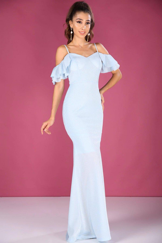 1efcefa9cc242 Nesrinden İp Askılı Simli Mavi Uzun Abiye Elbise   ElbiseBul