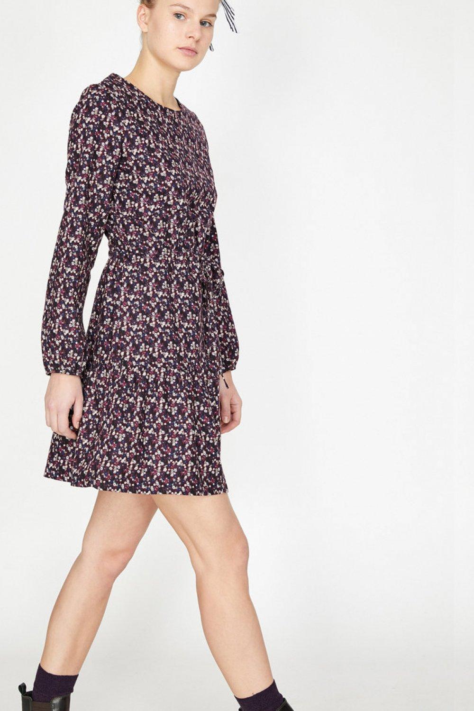 5a7f1f725de82 Koton Desenli Bordo Mini Elbise | ElbiseBul