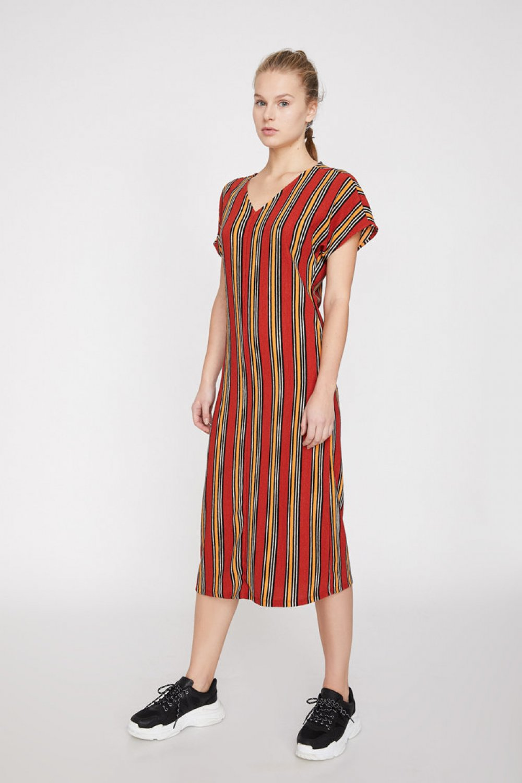 f12f4ec2359d3 Koton Çizgili Kiremit Midi Elbise | ElbiseBul