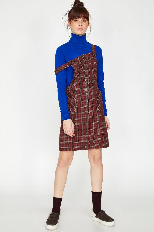 9a0cac74b6f1f Koton Askılı Düğme Detaylı Bordo Mini Elbise | ElbiseBul