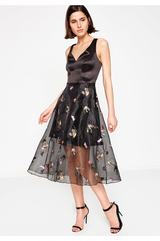 f1390d5bb15b3 Koton Askılı Siyah Desenli Mini Abiye Elbise | ElbiseBul