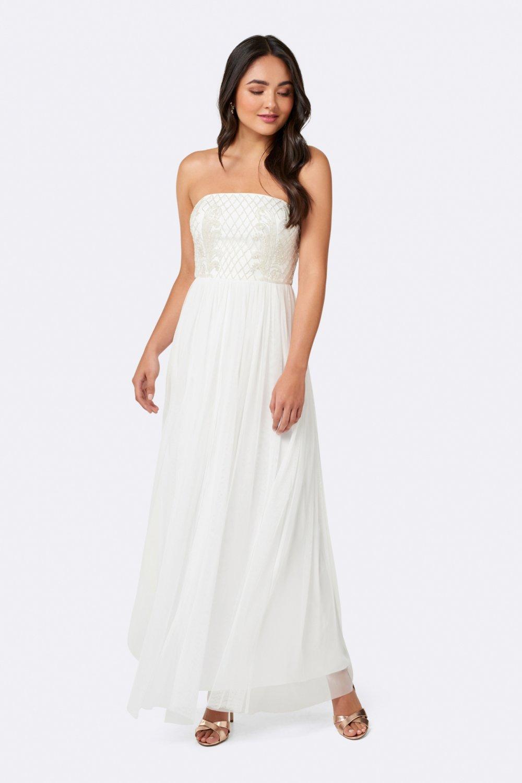 195da20523abd Forever New Jane Straplez Beyaz Uzun Elbise | ElbiseBul