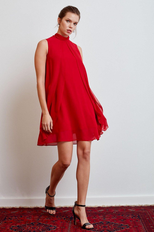 9f251f687149e Journey Kırmızı Katlı Parçalı Mini Abiye Elbise | ElbiseBul