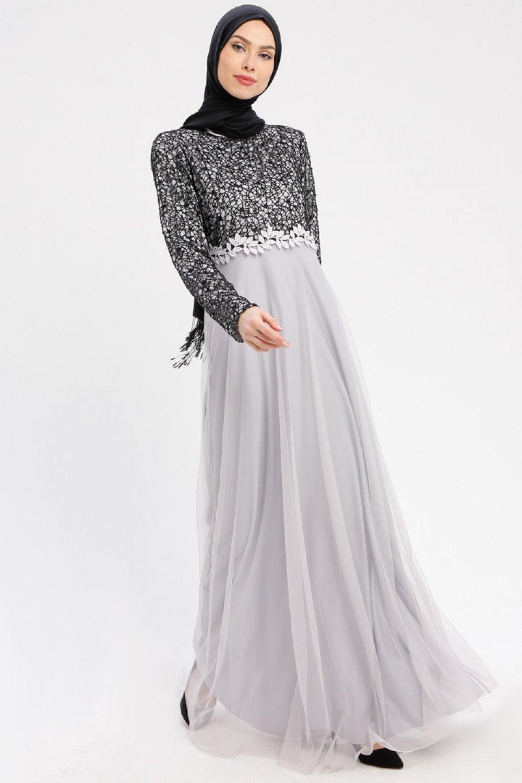 e6d166ae6cc05 Şanlı Siyah Gri Güpürlü Abiye Elbise | ElbiseBul