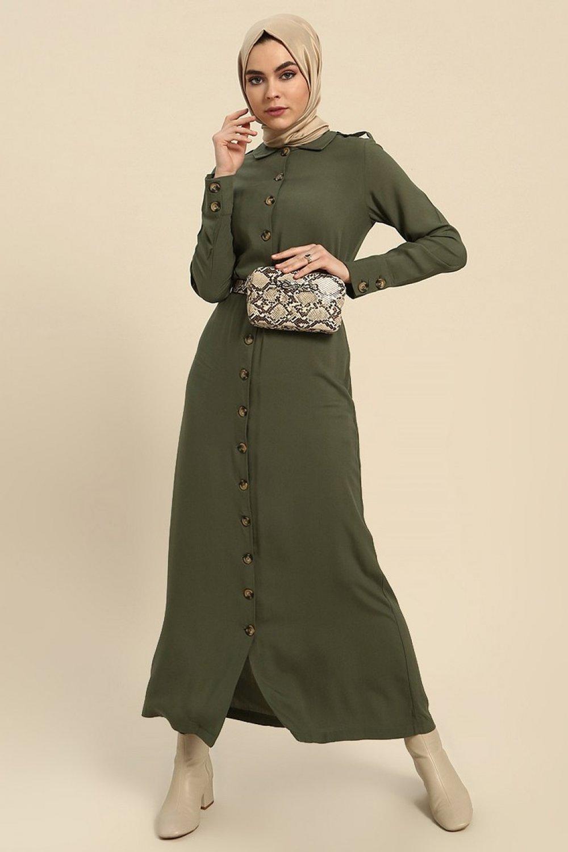 491a568879110 Refka Haki Doğal Kumaştan Boydan Düğmeli Elbise | ElbiseBul