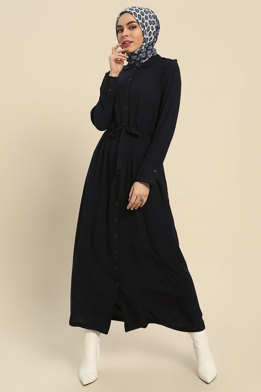 fe83a165e6a0b Refka Lacivert Doğal Kumaştan Boydan Düğmeli Elbise | ElbiseBul
