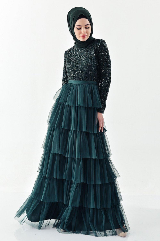 Sefamerve Yeşil Payet Detaylı Abiye Elbise