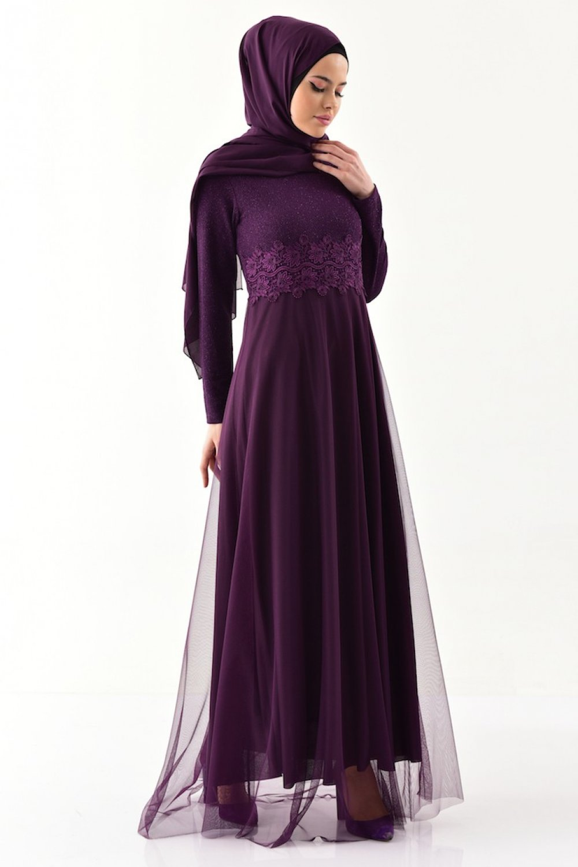 Sefamerve Mor Dantel Detaylı Abiye Elbise
