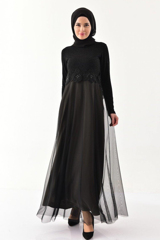 Sefamerve Siyah Haki Güpürlü Simli Abiye Elbise