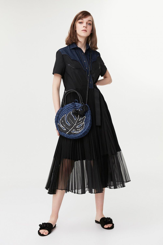 2c442cf928e69 İpekyol Lacivert Pilisole Etekli Denim Mixli Midi Elbise | ElbiseBul