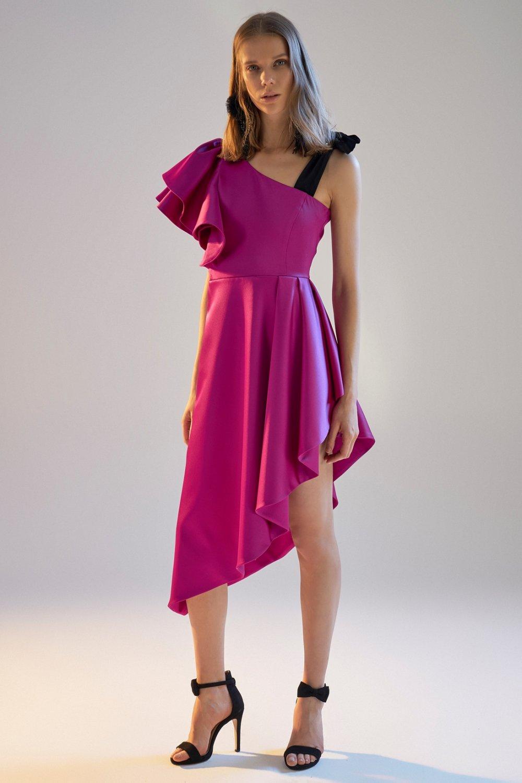 Morhipoxsudi Etuz Fuşya Volan Detaylı Asimetrik Mini Abiye Elbise