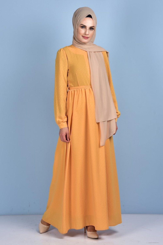 Sefamerve Sarı Kuşaklı Elbise