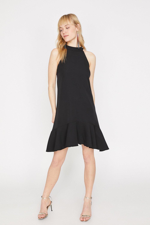 Koton Sırt Detaylı Siyah Mini Abiye Elbise