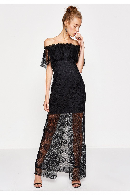 Koton Straplez Siyah Uzun Dantel Abiye Elbise