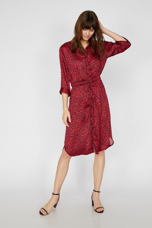 Koton Leopar Desenli Kırmızı Midi Elbise