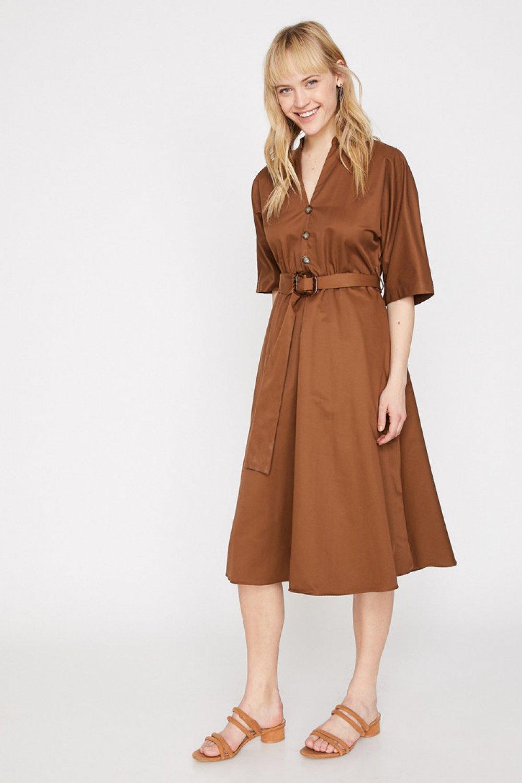 Koton Kemer Detaylı Kahve Midi Elbise