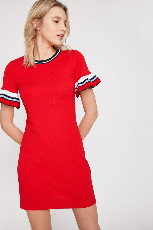 Koton Fırfır Detaylı Kırmızı Mini Elbise