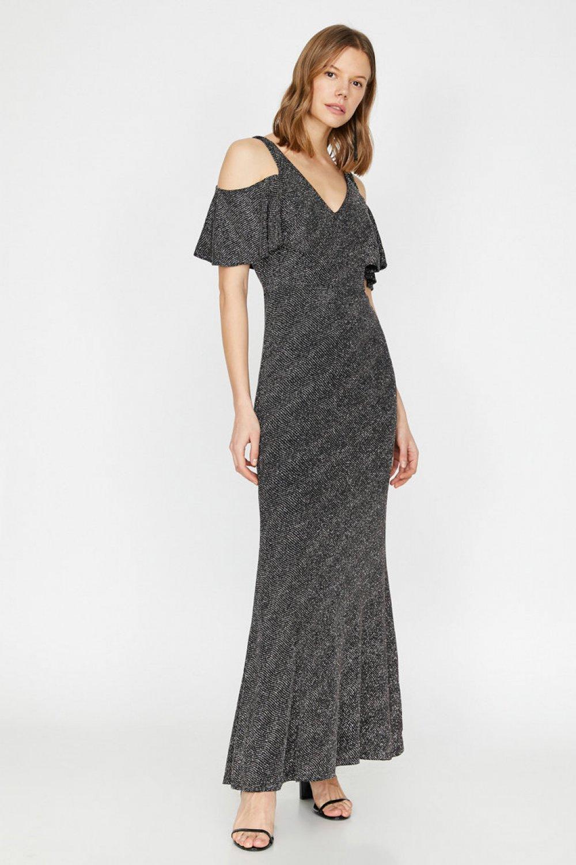 Koton Omzu Açık Siyah Uzun Abiye Elbise