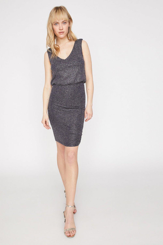 Koton Kolsuz Lacivert Mini Elbise